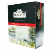 Чай черный Ahmad English Breakfast (Ахмад Английский завтрак), пакетики с ярлычками в конвертах из фольги, 100 саше по 2г.